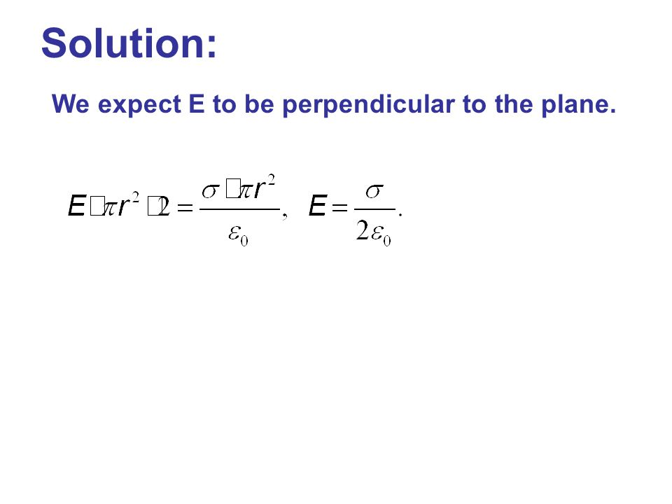 Solution: We expect E to be perpendicular to the plane.