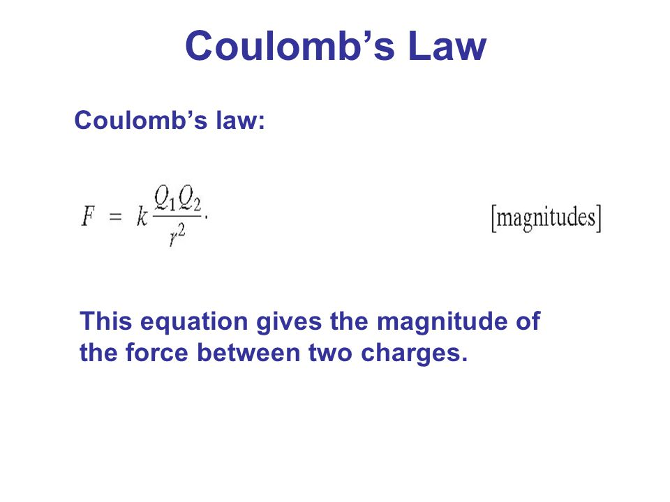 Coulomb's Law Coulomb's law: