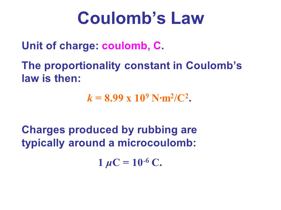Coulomb's Law Unit of charge: coulomb, C.