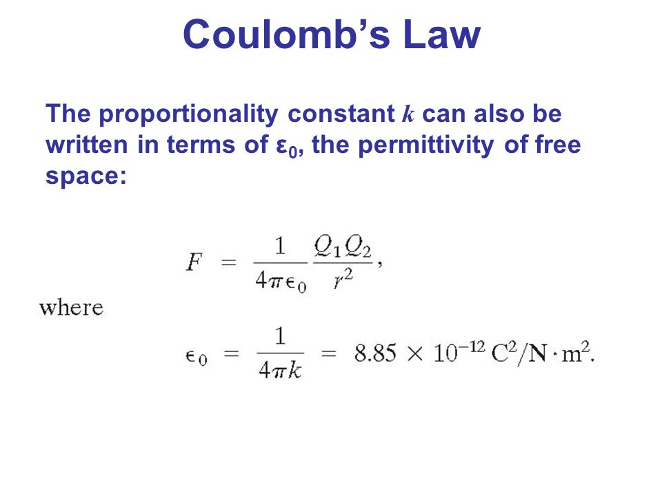 Coulomb's Law The proportionality constant k can also be written in terms of ε0, the permittivity of free space:
