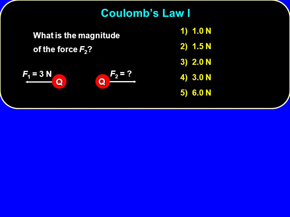 Coulomb's Law I Q 1) 1.0 N What is the magnitude of the force F2