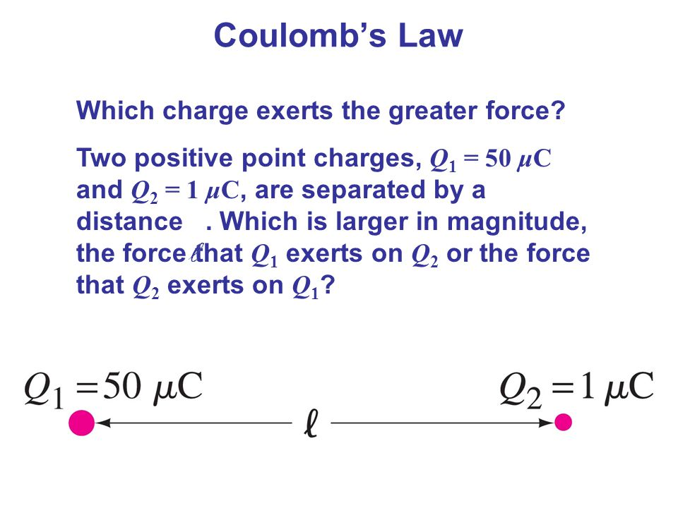 Coulomb's Law Which charge exerts the greater force