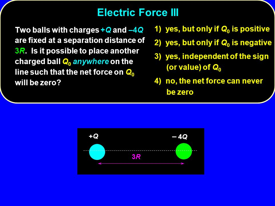 Electric Force III 1) yes, but only if Q0 is positive