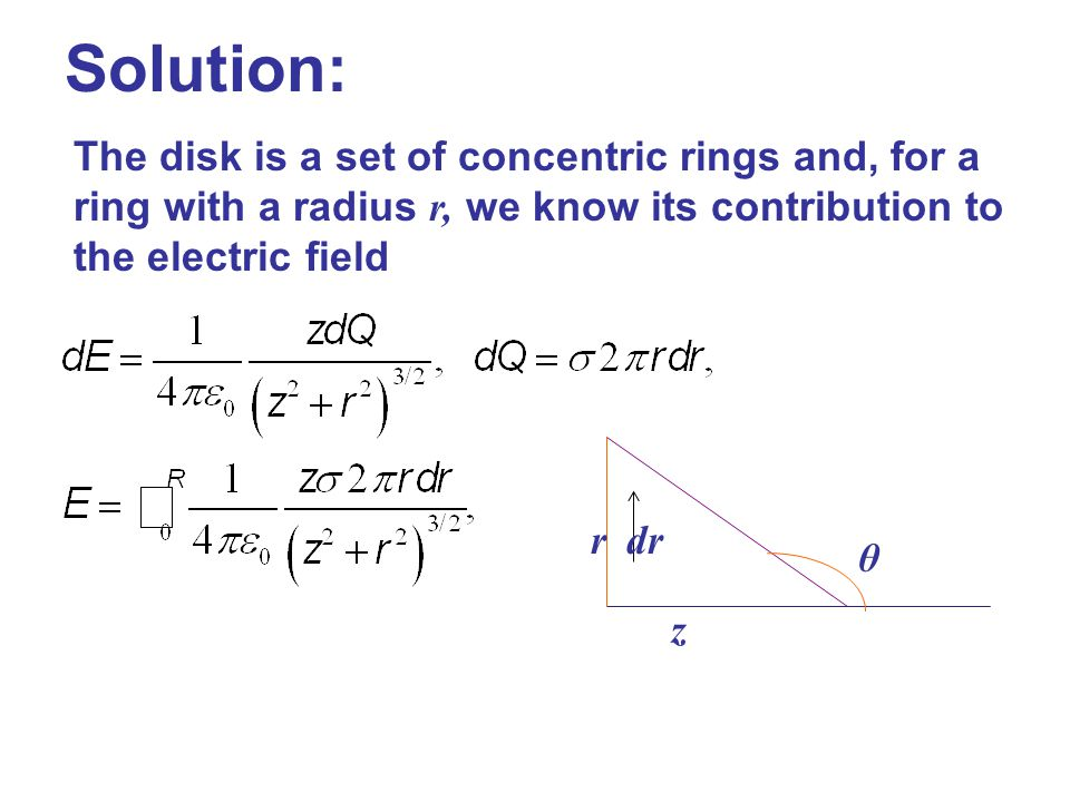 Solution: The disk is a set of concentric rings and, for a ring with a radius r, we know its contribution to the electric field.