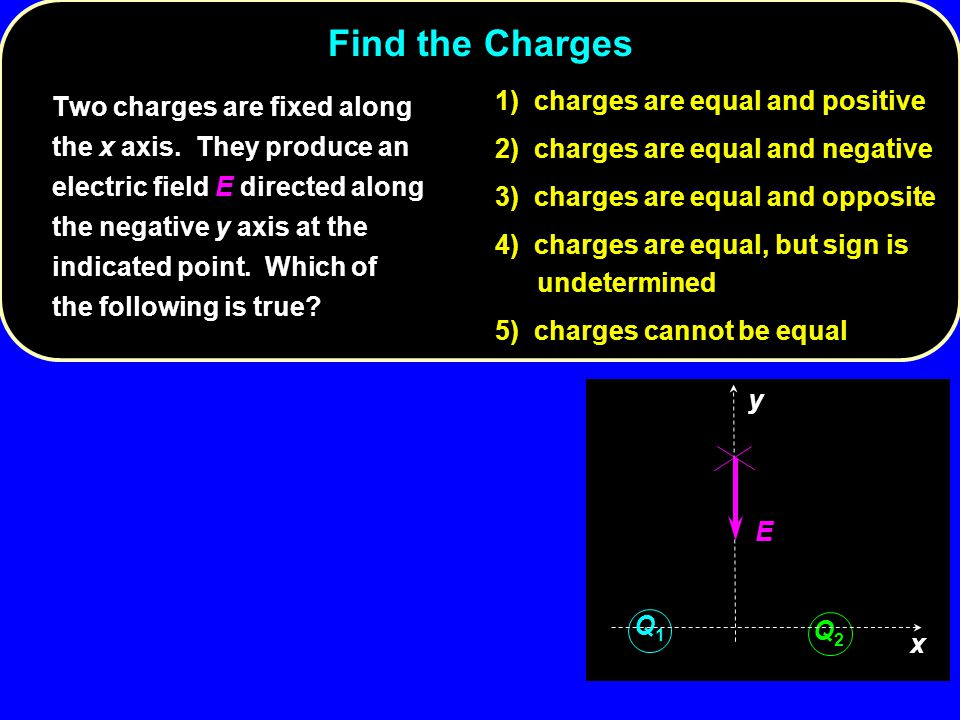 Find the Charges 1) charges are equal and positive