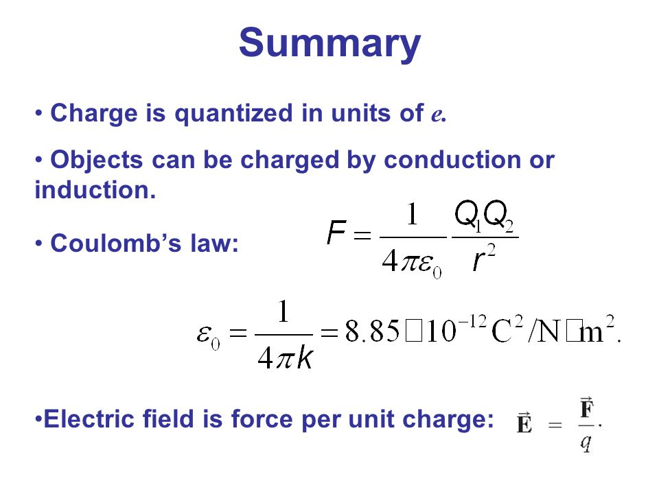 Summary Charge is quantized in units of e.