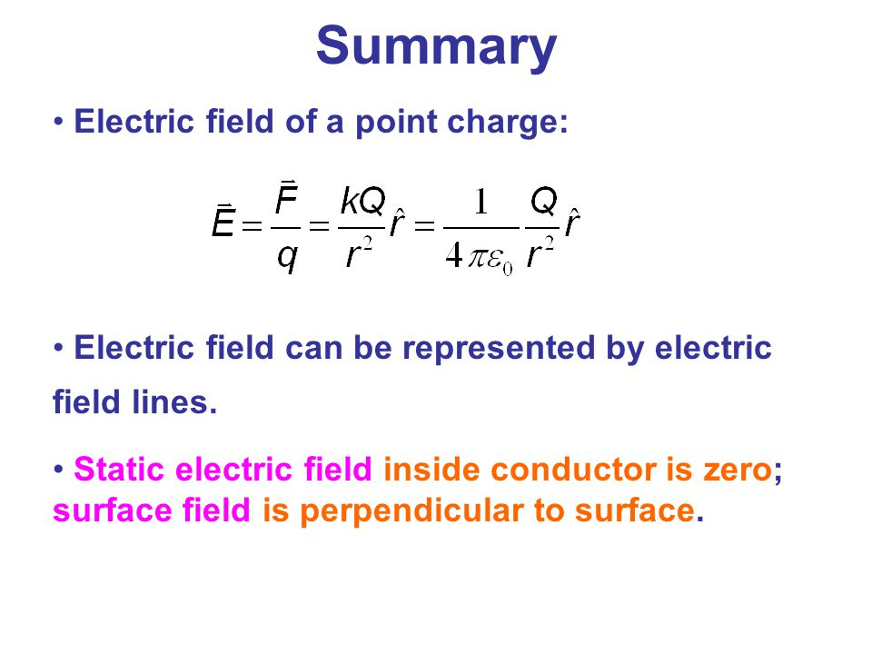 Summary Electric field of a point charge: