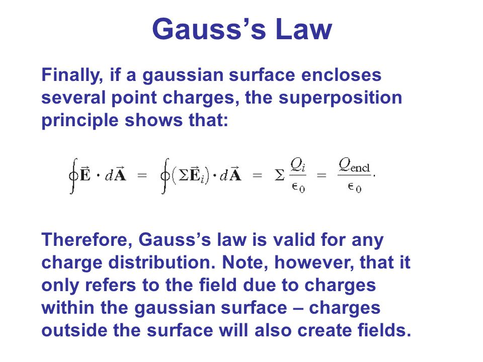 Gauss's Law Finally, if a gaussian surface encloses several point charges, the superposition principle shows that: