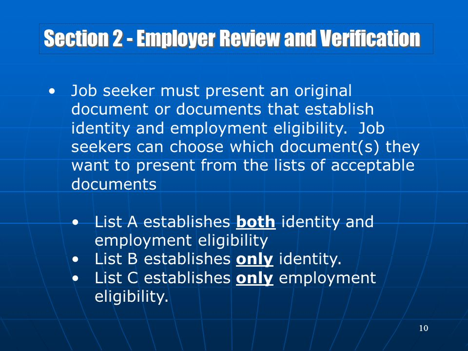 Section 2 - Employer Review and Verification