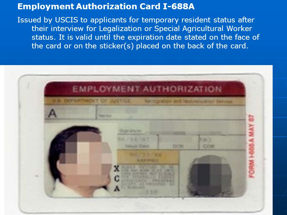 Employment Authorization Card I-688A