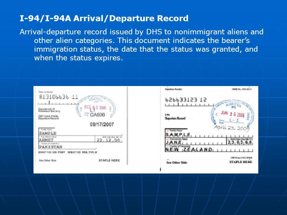 I-94/I-94A Arrival/Departure Record