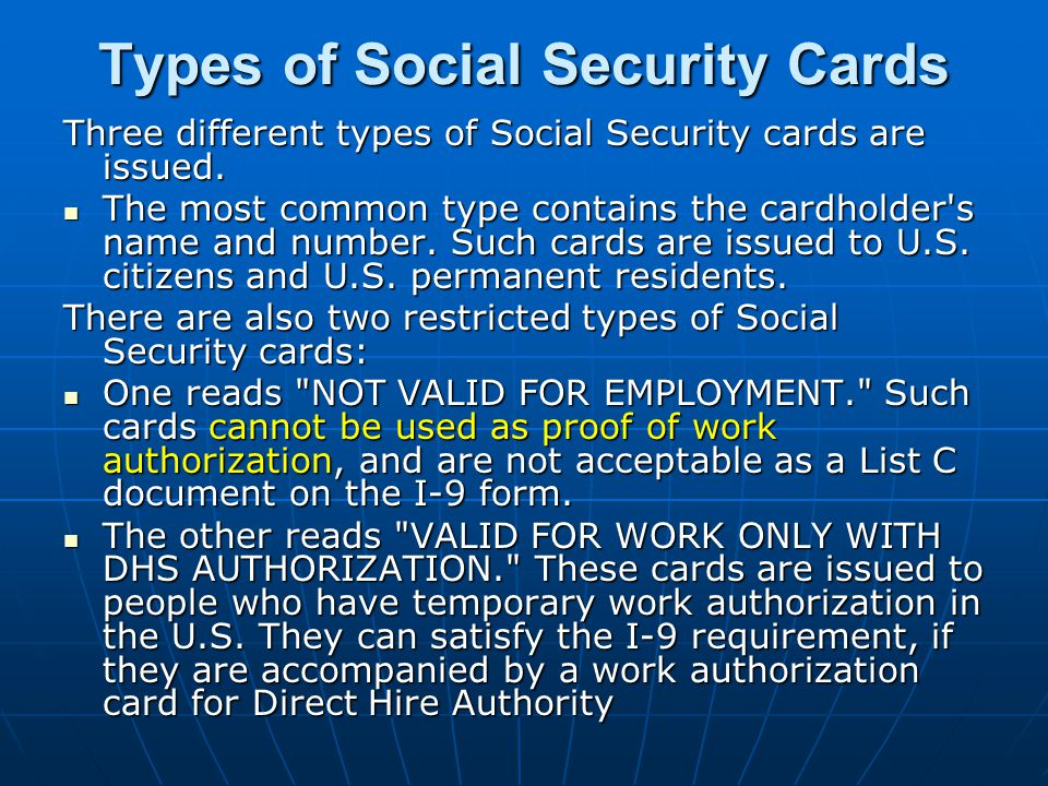Types of Social Security Cards