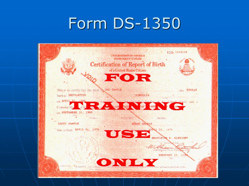Form DS-1350