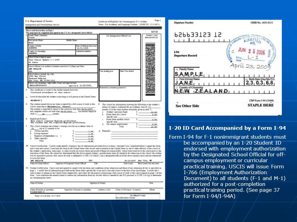 I-20 ID Card Accompanied by a Form I-94