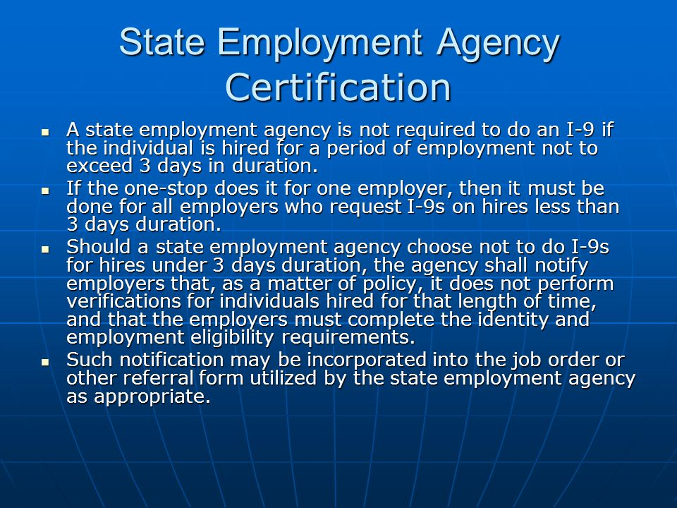 State Employment Agency Certification