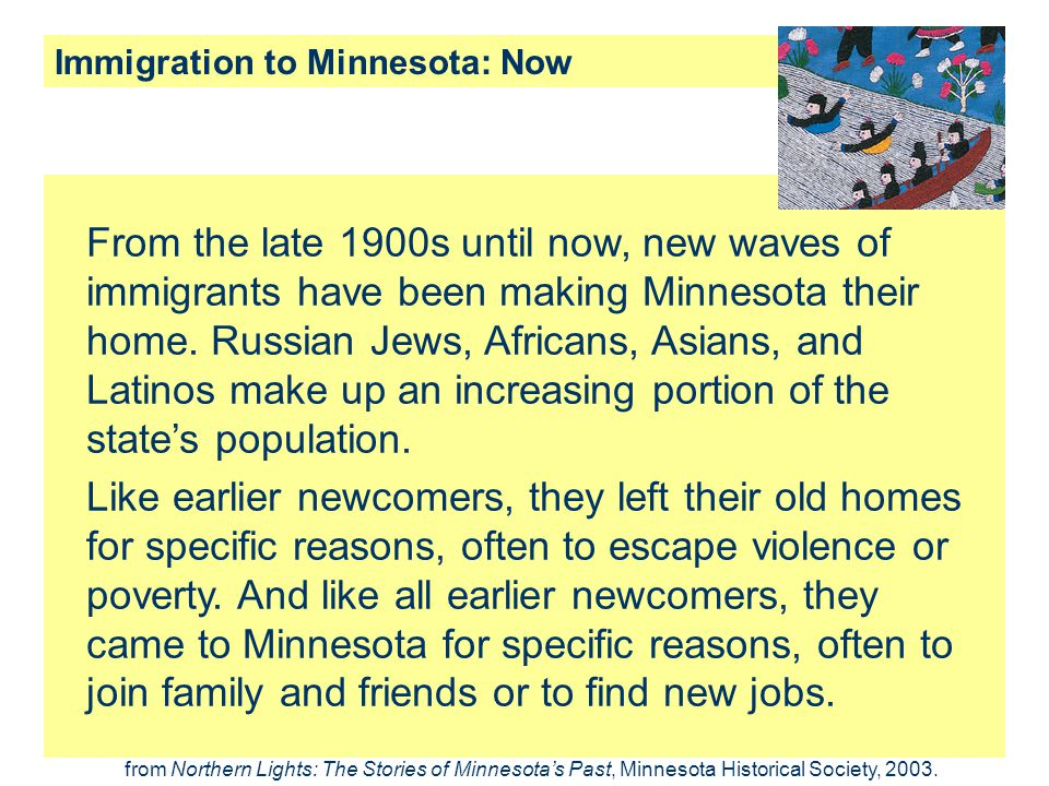 Immigration to Minnesota: Now
