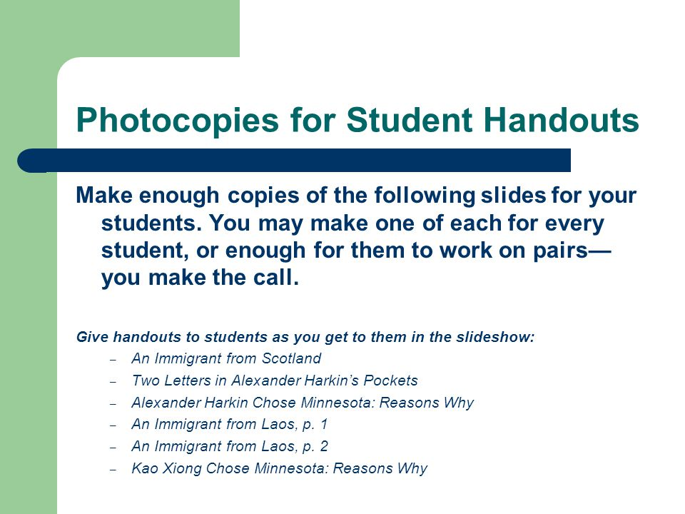 Photocopies for Student Handouts