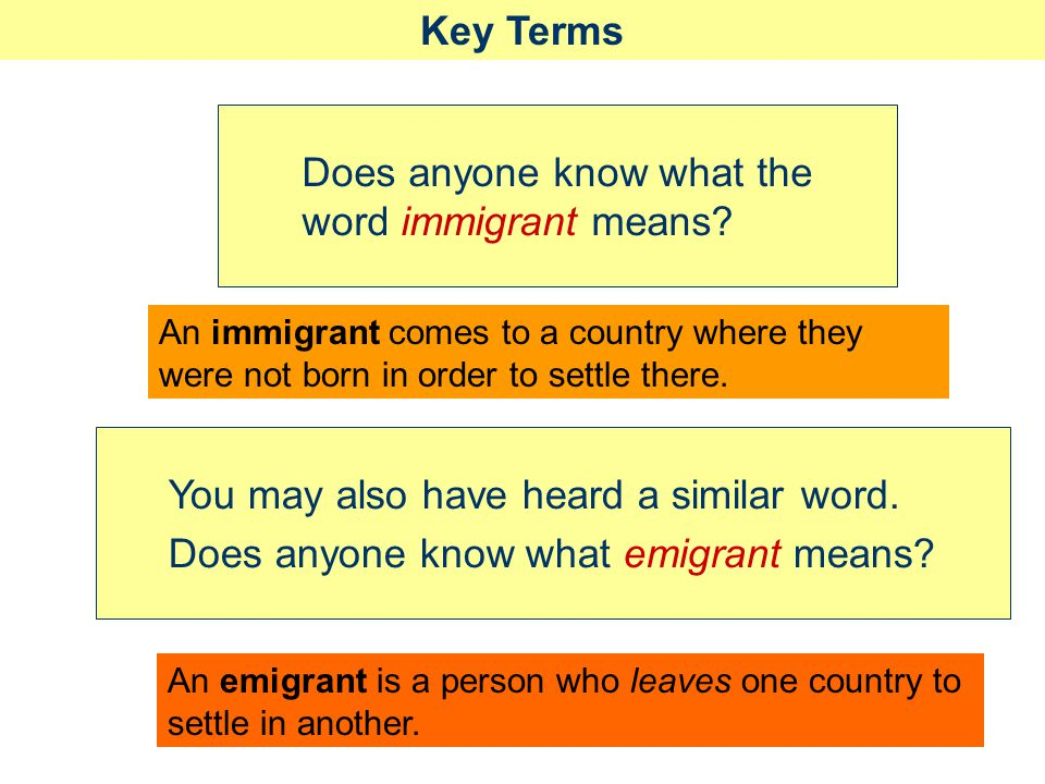 Does anyone know what the word immigrant means