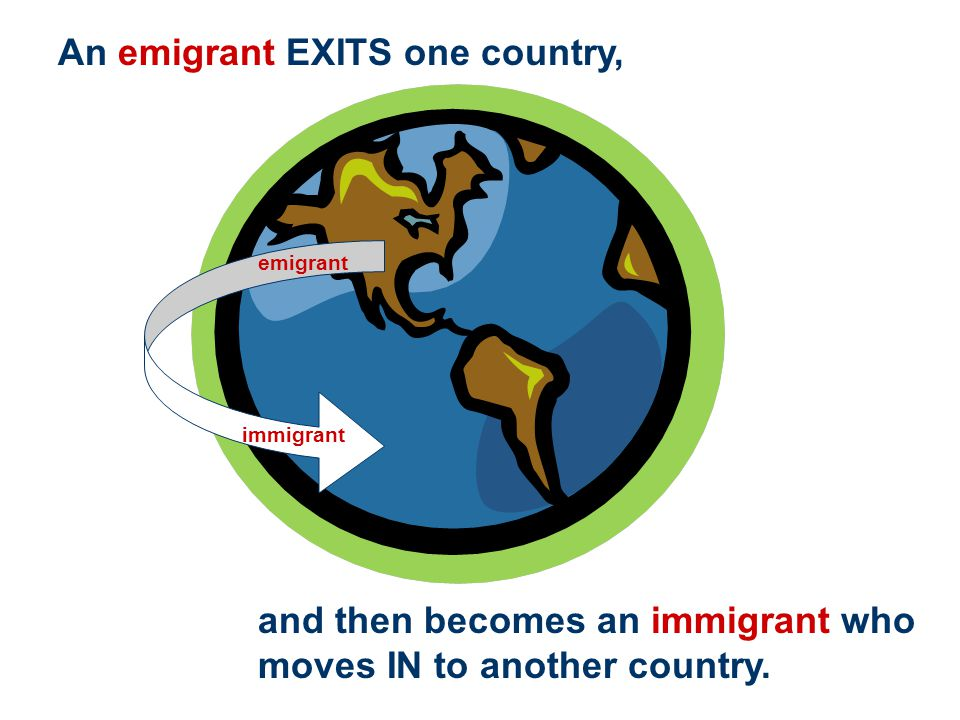 An emigrant EXITS one country,