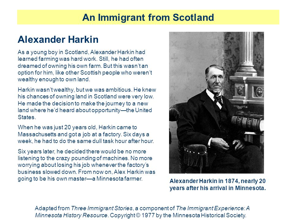 An Immigrant from Scotland