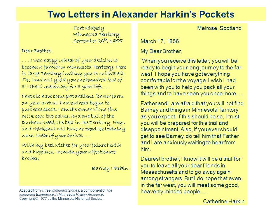 Two Letters in Alexander Harkin's Pockets