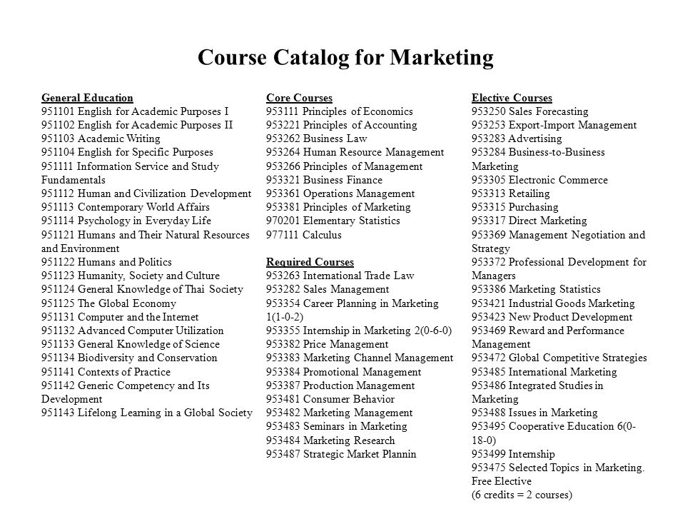 Course Catalog for Marketing