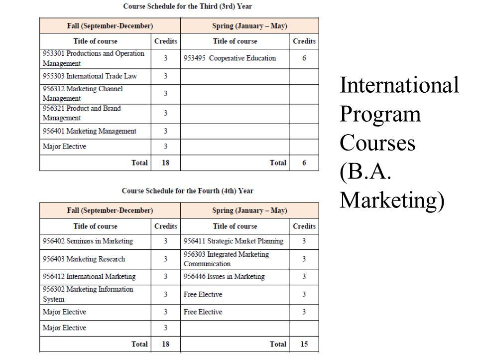 International Program Courses (B.A. Marketing)