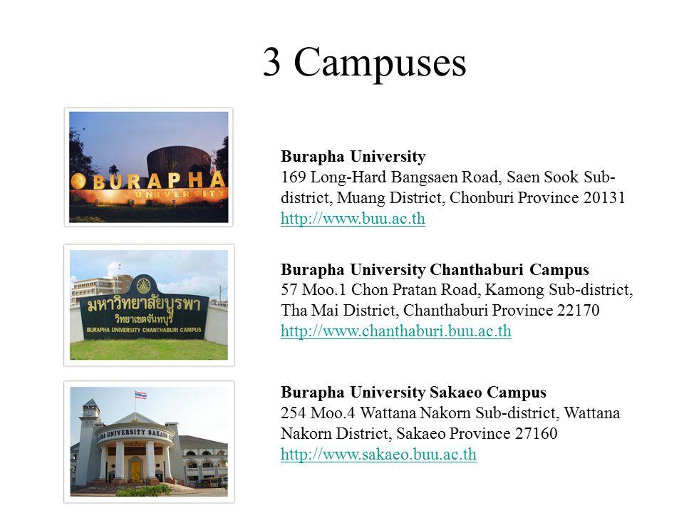 3 Campuses Burapha University 169 Long-Hard Bangsaen Road, Saen Sook Sub-district, Muang District, Chonburi Province 20131 http://www.buu.ac.th.