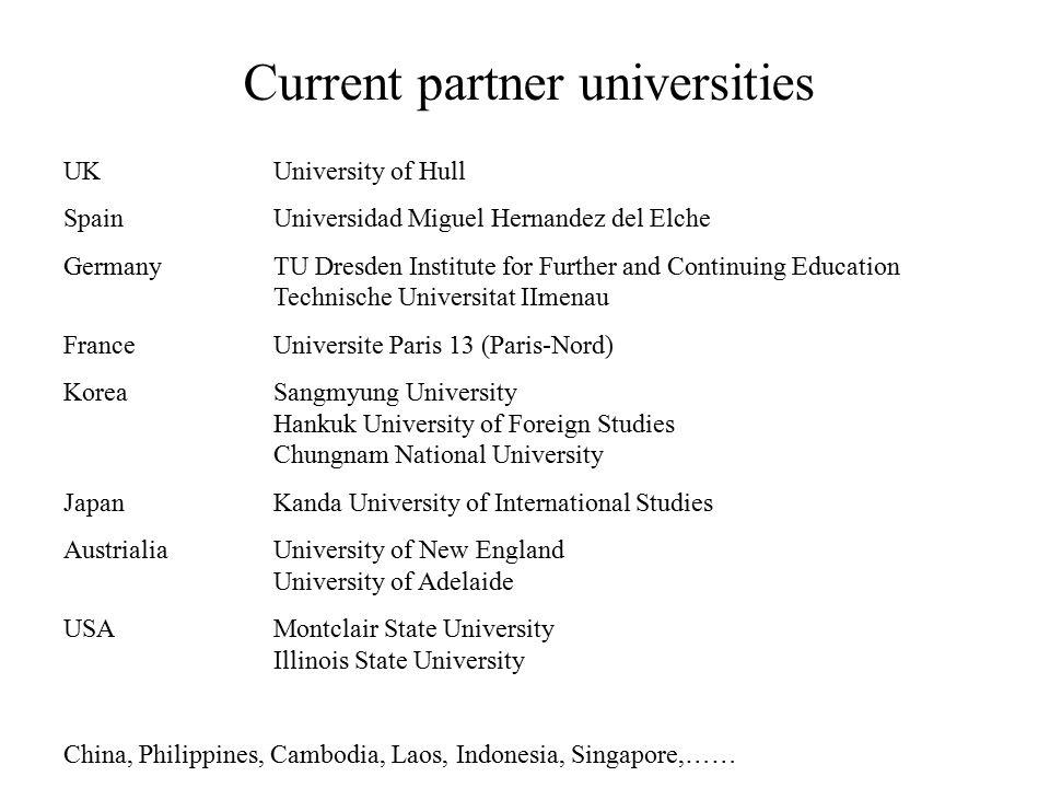 Current partner universities