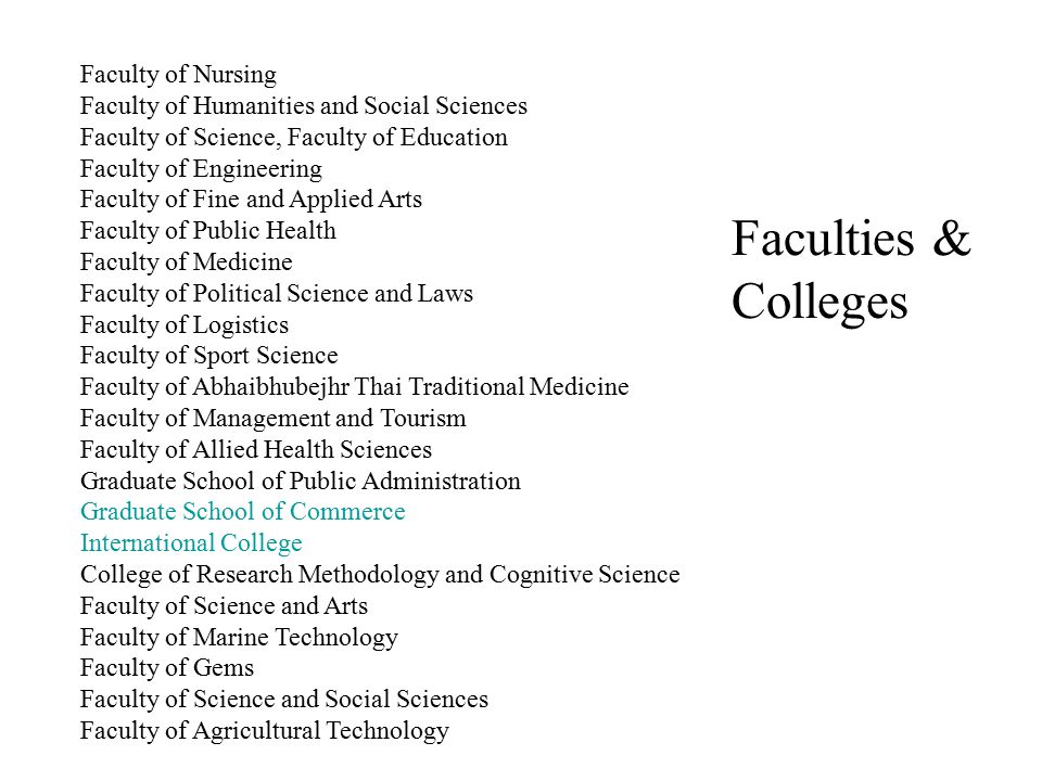 Faculties & Colleges Faculty of Nursing