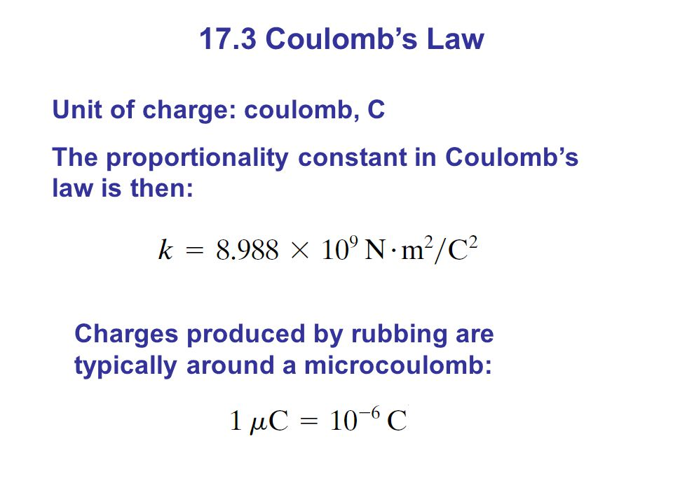 17.3 Coulomb's Law Unit of charge: coulomb, C