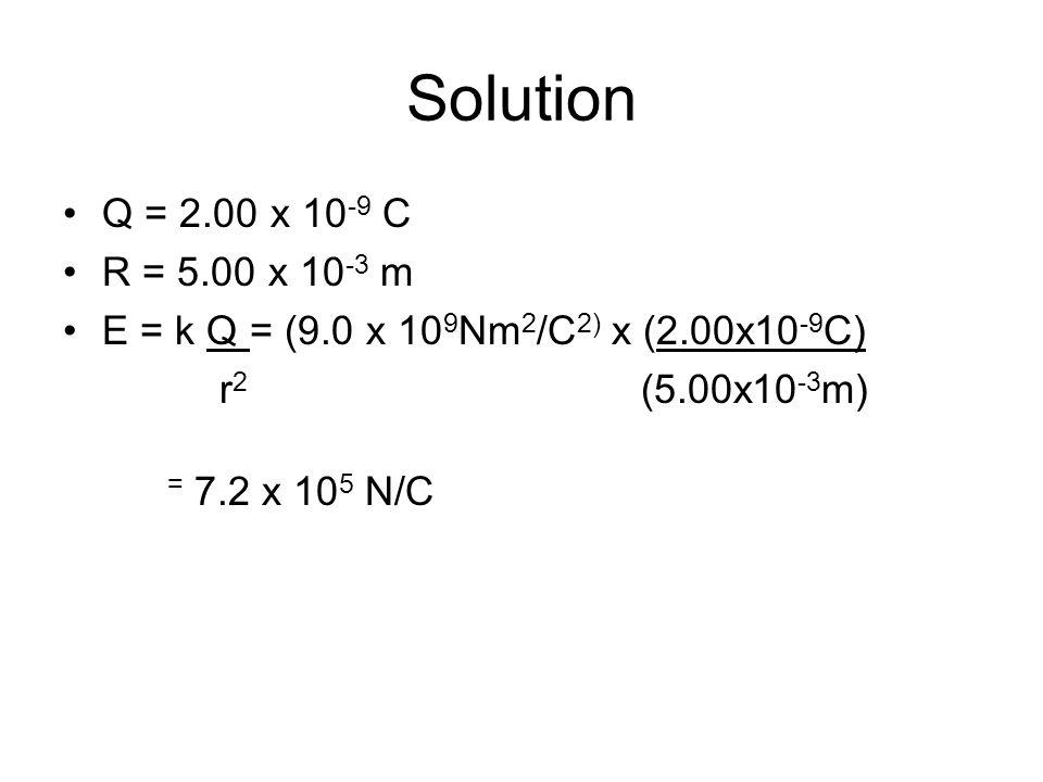 Solution Q = 2.00 x 10-9 C. R = 5.00 x 10-3 m. E = k Q = (9.0 x 109Nm2/C2) x (2.00x10-9C) r2 (5.00x10-3m)