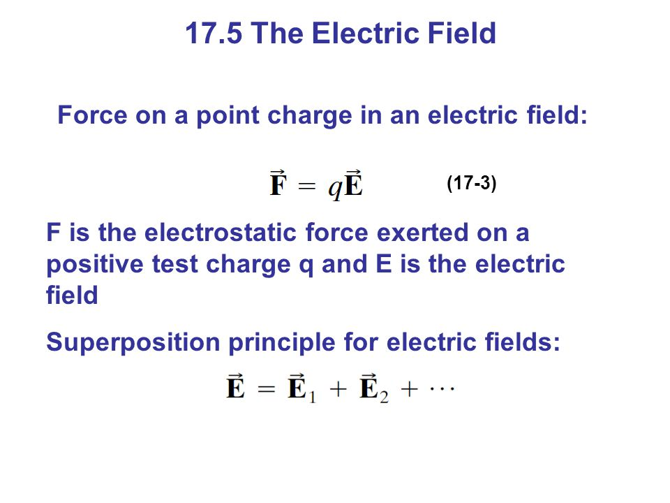 17.5 The Electric Field Force on a point charge in an electric field: