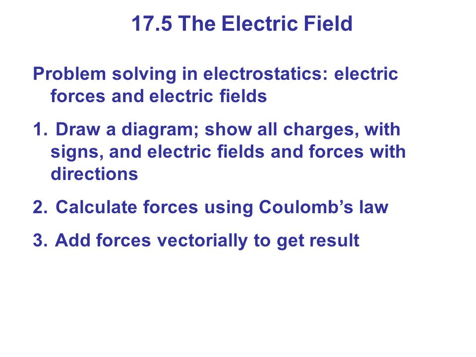 17.5 The Electric Field Problem solving in electrostatics: electric forces and electric fields.