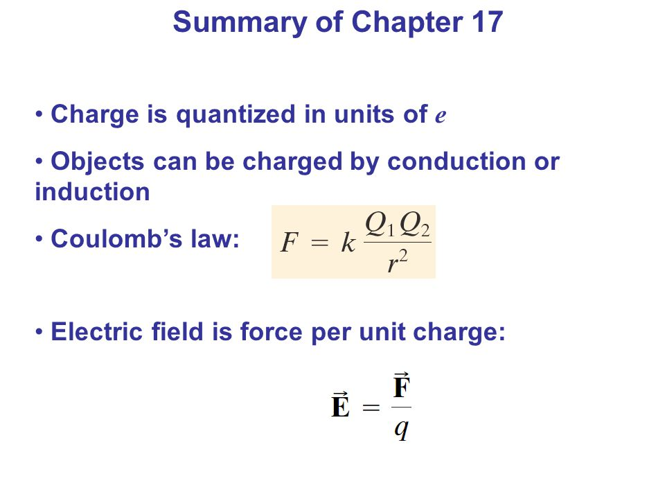 Summary of Chapter 17 Charge is quantized in units of e