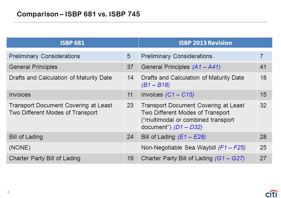 Comparison – ISBP 681 vs. ISBP 745