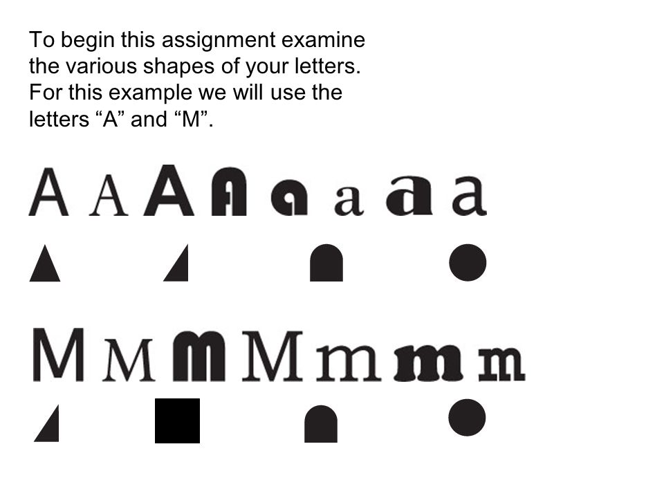 To begin this assignment examine the various shapes of your letters