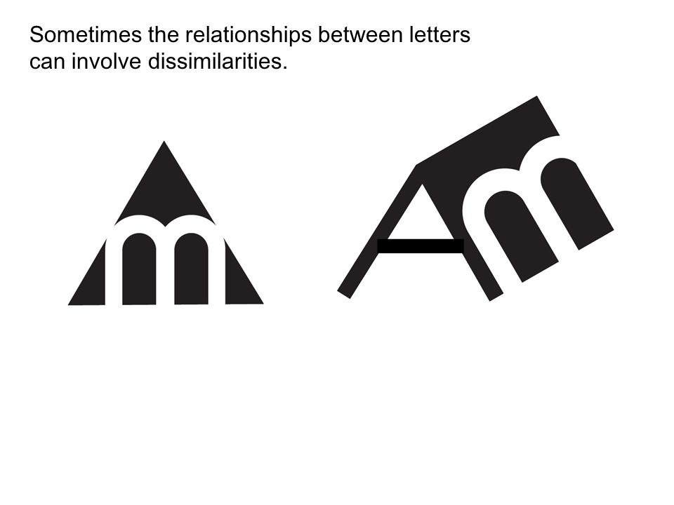 Sometimes the relationships between letters can involve dissimilarities.