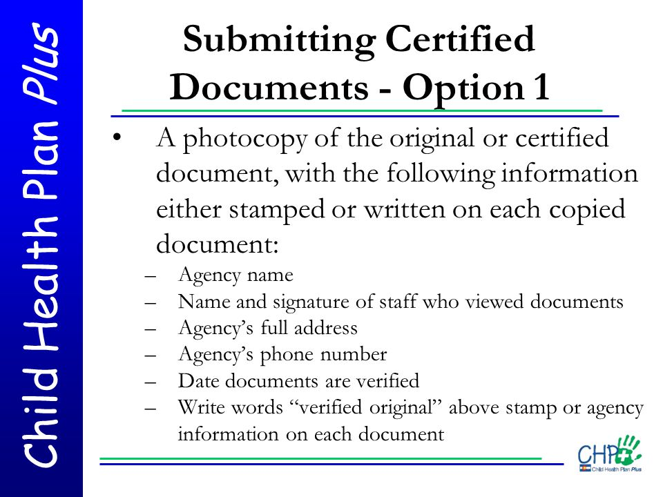 Submitting Certified Documents - Option 1