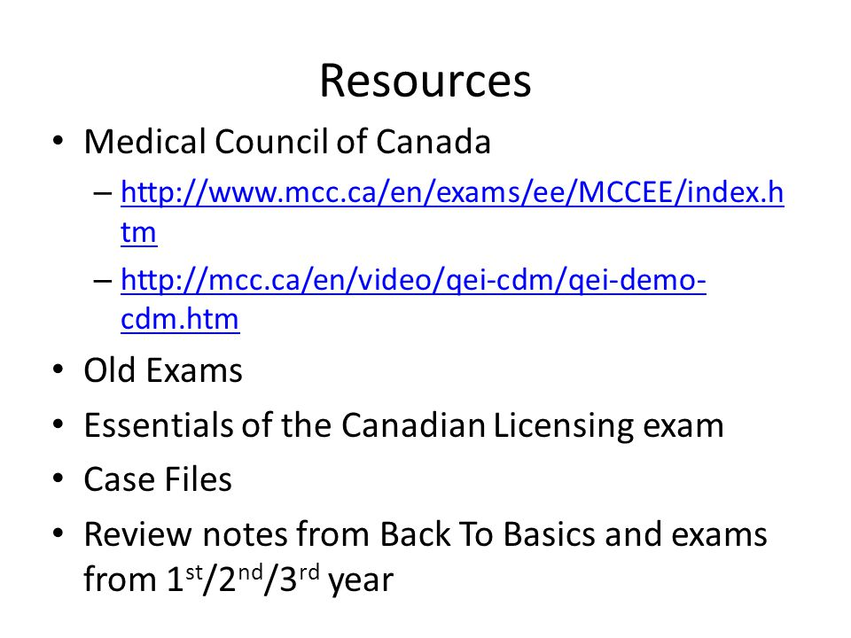 Resources Medical Council of Canada Old Exams