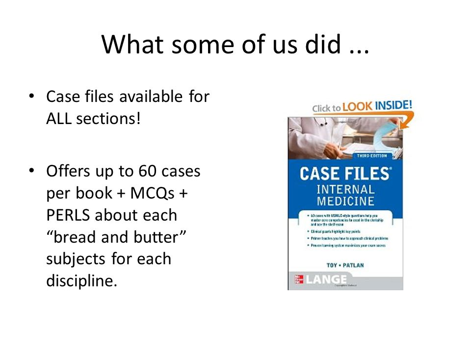 What some of us did ... Case files available for ALL sections!