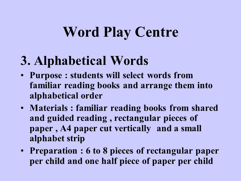 Word Play Centre 3. Alphabetical Words
