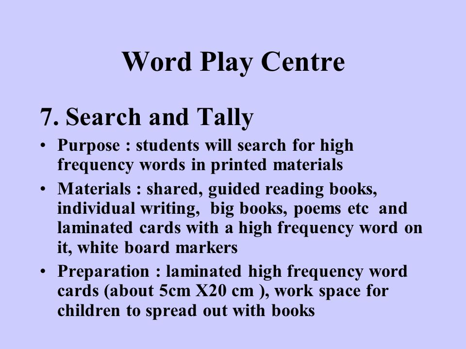 Word Play Centre 7. Search and Tally