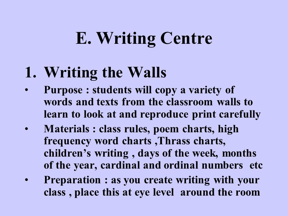 E. Writing Centre Writing the Walls