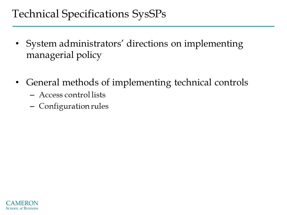 Technical Specifications SysSPs