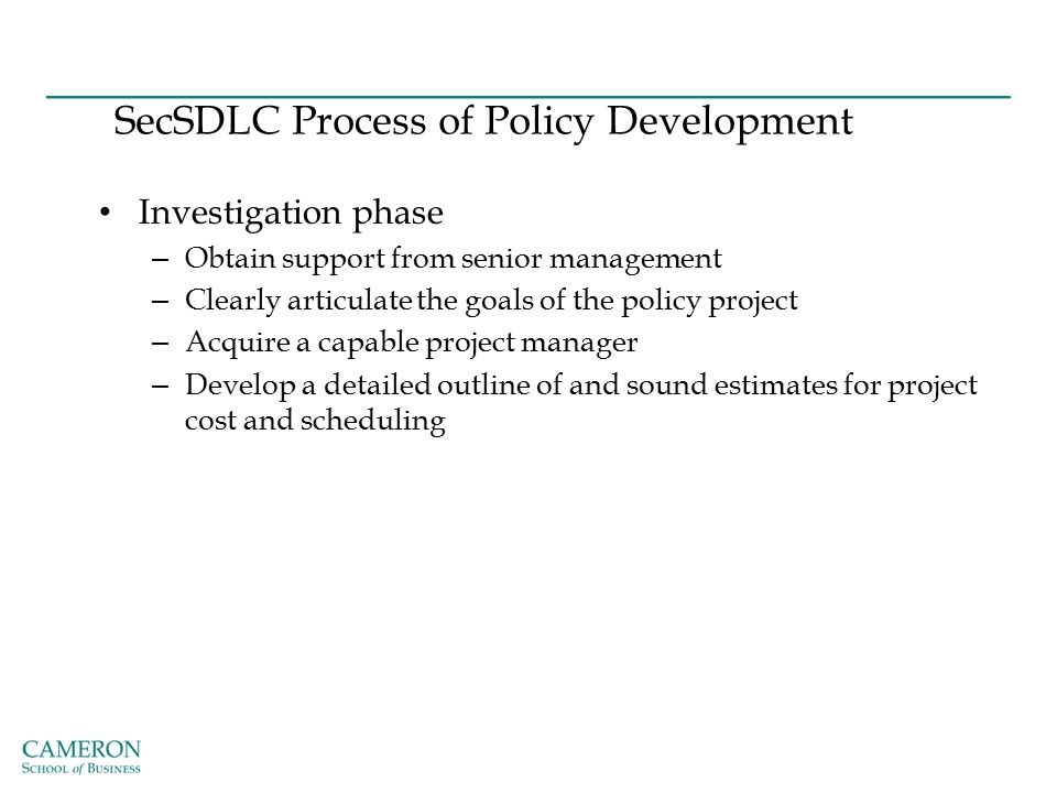 SecSDLC Process of Policy Development