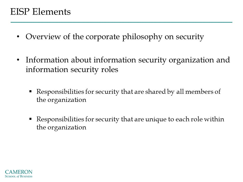 EISP Elements Overview of the corporate philosophy on security