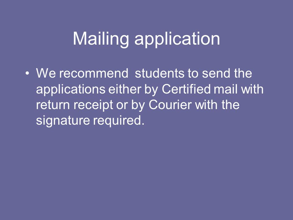 Mailing application