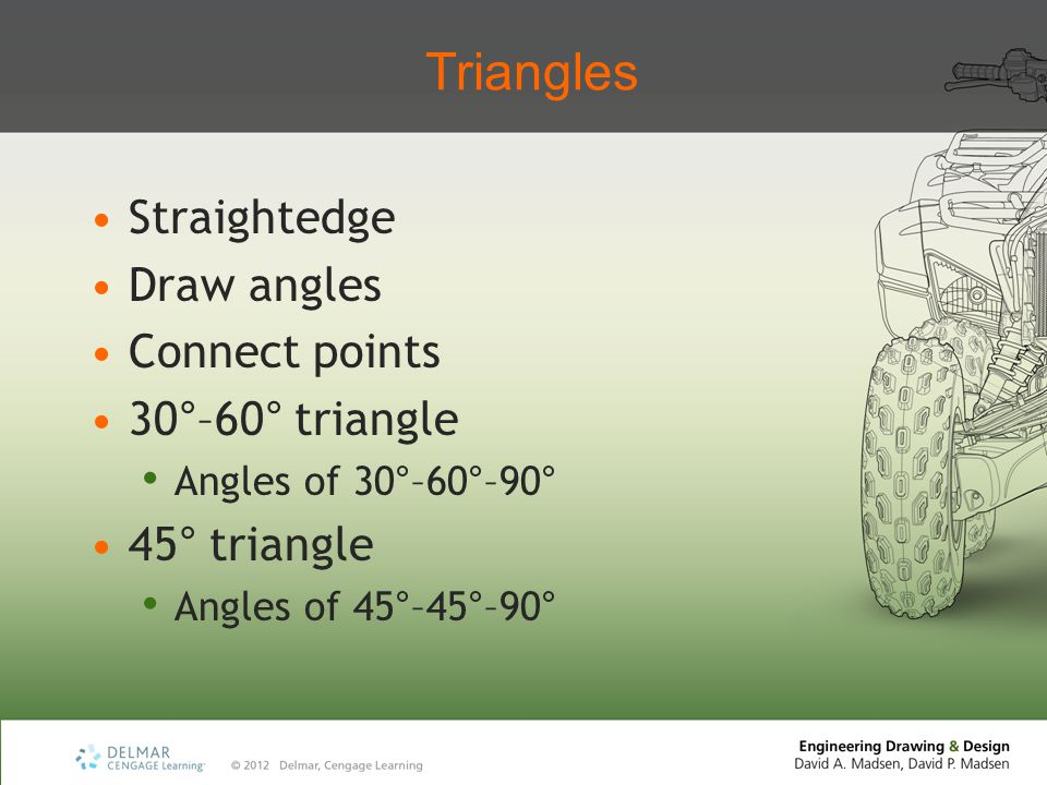 Triangles Straightedge Draw angles Connect points 30°–60° triangle