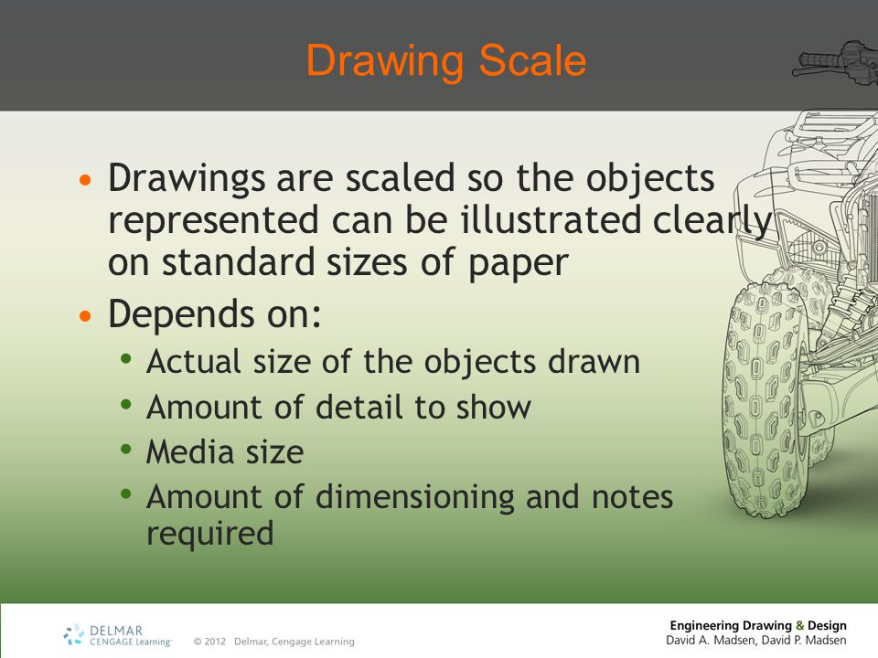 Drawing Scale Drawings are scaled so the objects represented can be illustrated clearly on standard sizes of paper.
